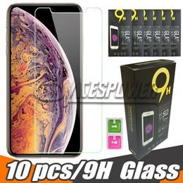 Vente en gros Pour Iphone X XR XS MAX, protection d'écran en verre trempé transparent pour LG Stylo 4, paquet de papier Samsung Galaxy J7 J5