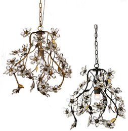Lighting Luminaries online shopping - Regron Country Chandelier Lighting Led Flower Crystal Chandeliers Pastorale Natural Suspension Lamp Luminary Balcony Dining Room