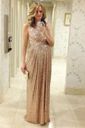 Sexy Dressing Pregnant Australia - Sequins Prom Dresses 2018 Pregnant Evening Dresses Shinny V Neck Long Sexy Party Gowns Cheap Bridesmaid Dresses