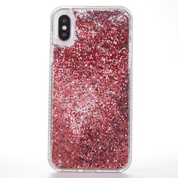 iphone cover flow venda por atacado-Bling Glitter Sparkle Fluindo Flutuante Liquid Phone Case Brilhante Quicksand Limpar Capa Protetora para iPhone X