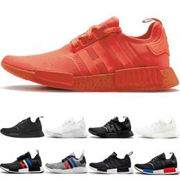 Discount nmd r1 triple black - Wholesale NMD R1 Running Shoes OG Japan Triple black White Solar Red Oreo Men Women Designer Trainer Sport Sneaker Size