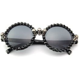 44ce05b07a Cubojue Party Round Sunglasses Black Men Women Rhinestone Skeleton Man s  Hip Hop Festival Shows Vintage Punk Female Steampunk