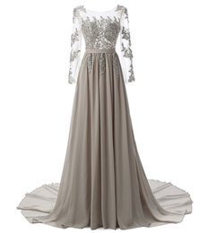 $enCountryForm.capitalKeyWord UK - Hot Sexy Sheer O-Neck A-Line Long Sleeve Chiffon Lace Beaded Coral Silver Lavender Purple Bridesmaid Dresses Cheap In Stock Evening Dresses