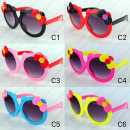 cheap girls sunglasses UK - New Lovely Colorful Flower Kids Sunglasses Round Frame Pretty And Cute Design 6 Colors Cheap Wholesale Eyewear