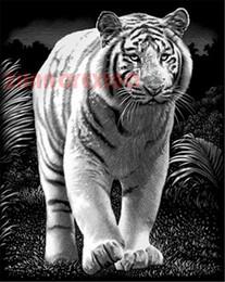White Cross Decoration NZ - Diamond embroidery animal white tiger diy diamond painting cross stitch kit resin full round&square diamond mosaic home decoration AA0171