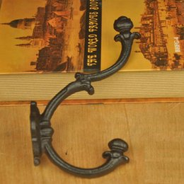 Discount english style home decor - Wholesale 5 Pieces Cast Iron English Style Coat Hooks Hanging Rack Hook Hanger Classic Wall Mounted Decorative Hook Home