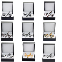 $enCountryForm.capitalKeyWord NZ - High quality tie clip Cufflinks Gift Set 13 styles to choose men tie shirt Cufflinks Tie Clip Wedding Jewelry Box Free shipping