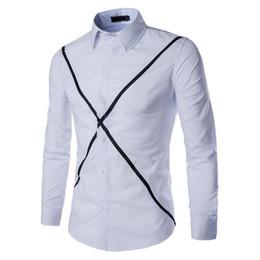 $enCountryForm.capitalKeyWord NZ - Patchwork Men Business Shirt Hot Sale Cool Streetwear Mens Shirts Fitness Blusa Hip Hop Male Office Blouse Novelty White Tops