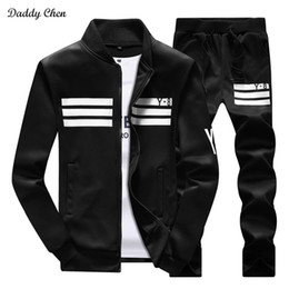 d921c074353 2017 Fashion Casual Men Tracksuit Set Hip Hop Track Suit Men Sportswear  Stand Collar Coat Pants Costume Sets Fitness Plus Size