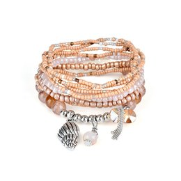 $enCountryForm.capitalKeyWord UK - FUNIQUE Sea Bohemian Style Multilayer Simulated Pearl Beads Charms Women Bracelets Tassel Pendant Hand Chain Summer Jewelry