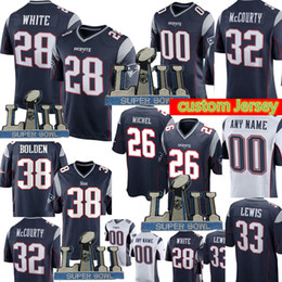 f879d3584 New Patriots Custom Jersey Mens 28 James White 26 Sony Michel 33 Dion Lewis  21 Butler 54 Hightower 18 Matthew Slater 32 McCourty 24 Gilmore