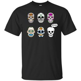 Sugar Skull Hipsters - Funny Cartoon Maglietta Mexican Day Dead Flowers Color Men Magliette 100% Cotton Print Shirts Top