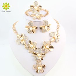 Discount flower necklace pearls crystals beads - imulated pearl jewelry set Simulated Pearl Jewelry Sets For Women Crystal Necklace Earrings Set African Beads Gold Color