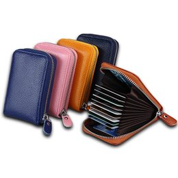 Color Coin NZ - Organ Style Zipper Card Holder Wallet Men Women Cow Leather 9 Card Slots 2 Coin Bags 13 Color W090