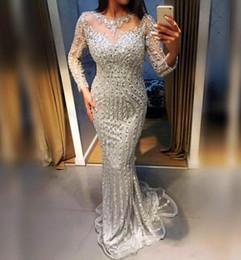 Nude rhiNestoNe loNg dresses online shopping - Silver Beaded Crystals  Sheath Evening Dresses Sheer Long Sleeves b7f32cbfa468