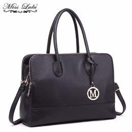 Tote Bags Compartments Canada - Miss Lulu Women Laptop Handbags Luxury Shoulder Bags Ladies Cross Body Messenger Bags Multi Compartments Female Big Tote LT1726