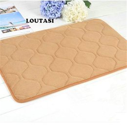 $enCountryForm.capitalKeyWord NZ - LOUTASI Memory Foam Floor Bath Mat Coral Velvet Anti-slip Bathroom Doormat Rug Magnificent Lattice Fleece High Absorbency Carpet