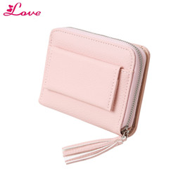 Chinese  Lucia_shop Pink Short Leather Wallet Women Tassel Zipper Small Wallet Lady Solid Mini Purse Multifunction Card Holders Female S30 manufacturers