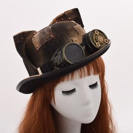 $enCountryForm.capitalKeyWord UK - 1pc Women Steampunk Top Hat Vintage Cute Cat Ears Patch Glasses Fedora Headwear Fast Shipment New