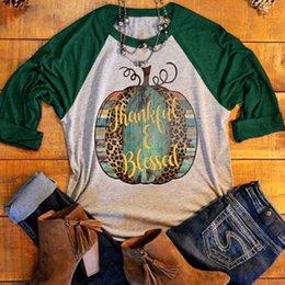 HIRIGIN 2017 Halloween Women Thanks Pumpkin Printed Casual T-Shirt Splicing O-Neck Basic Top Tee Long Raglan Sleeve T Shirt