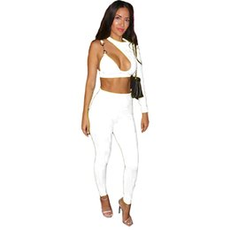 b41ec4ee5b52 Women Long Sleeve One Shoulder Hollow out Crop Top and Pant Bodycon 2 Piece  Club Outfits Sexy Party White Two Piece Pant Set