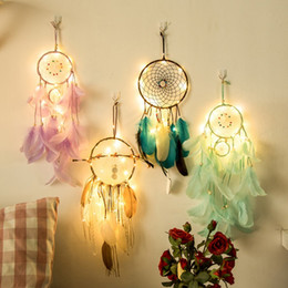 Chinese  20 lamp Dream Catcher Net Led Stars String Lights DIY Wind Chimes Natural Feathers Wall Hanging Decor DreamCatcher lamp string manufacturers