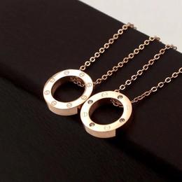 4e7568d87b41 Acero Titanio 316L Rose Gold Screw Circle collares pendientes para mujer  Plata 18K Gold Round Necklace con diamantes Gargantilla joyería de moda