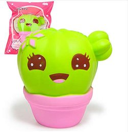 potted rose plants UK - 11CM Jumbo Kawaii Squishy Cartoon Smile Face Cactus Potted Plants Bread Cream Scented Soft Slow Rising Cake Phone Strap Toy Gift