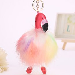 fox fur keychains 2019 - Pink Flamingo Keychain Pom Pom Keyring Bag Charm Faux Fox Fur Fluffy Key Ring PomPom Car Key Chain For Women cheap fox f