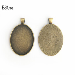 $enCountryForm.capitalKeyWord NZ - BoYuTe (20 Pieces Lot) 40*30MM Cabochon Base Vintage Jewelry Accessories Parts Black Bezel Tray Pendants for Jewelry Making Findings Diy