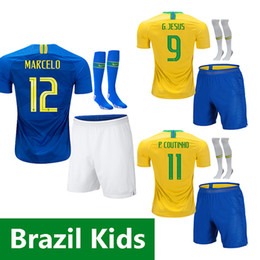 2018 kids soccer jersey 18 19 child JESUS COUTINHO FIRMINO Camisa de futebol  DANI ALVES MARCELO PAULINHO football shirt 04086b684