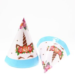 Wholesale 6pcs Unicorn blue Birthday Party hat Birthday Unicorn Paper supply Party Decor for boys