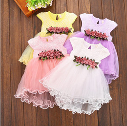 Chiffon pleat flower girl dresses online shopping - Girls Floral Bubble Skirt TUTU Skirt with Flowers Lace Baby Summer Dresses Short Sleeve Cotton M T