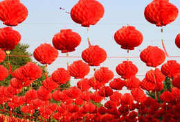 Party Decorations Chinese Lanterns Australia - 16Inch Chinese Paper Lantern Waterproof Dustproof Red Paper Honeycombs New Year Wedding Party Decoration