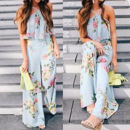 0037d19f 2018 verano mujeres gasa correa Floral sin mangas larga pierna ancha  pantalones anchos bohemio estampado floral mono # 0807
