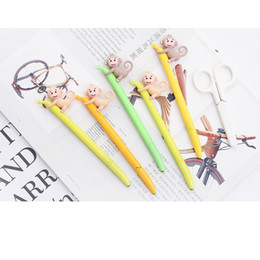 Navy Gel NZ - new 30 Pcs Lot Monkey Gel Pen With Banana 0.5mm Black Color Ink Pens For Writing Office Signature Lovely School Supplies