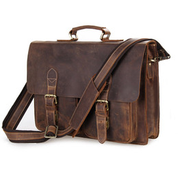 Wholesale Business Men Briefcase S649 Brown Color Vintage Men Genuine Crazy Horse Leather Messenger Bag Shoulder Portfolio Laptop Bag