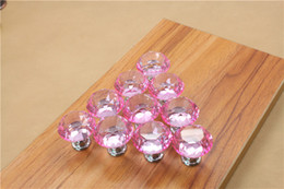 Crystal Pull Cabinet Handles Australia - Modern Colorful 30mm Crystal Glass Diamond Furniture Handle Drawer Single Hole Circular Alloy Kitchen Cabinets Handles Furniture Pulls