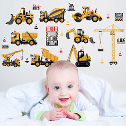 Removable Wall Stickers For Kids NZ - Cartoon Car City Construct Works Wall Stickers Removable Art Decal For Kid Room Decorative free shipping