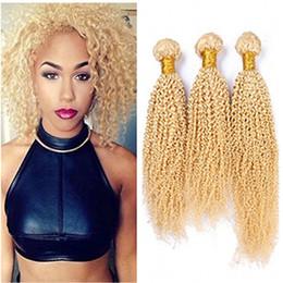 $enCountryForm.capitalKeyWord NZ - Brazilian Blonde Human Hair Bundles Kinky Curly #613 Bleach Blonde Virgin Human Hair Weaves 3Pcs Bundle Deals Curly Double Wefts
