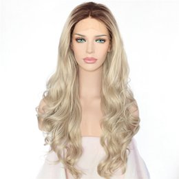 Long hair sexy women online shopping - Hot Sexy Halloween Long Natural Ombre Dark Roots To Blonde Body Wave Hand Tied Heat Resistant Hair Synthetic Lace Front Wigs for Women