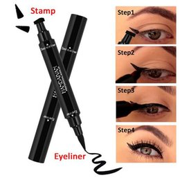 $enCountryForm.capitalKeyWord Canada - New brand Double Ended Black Eyeliner Liquid Pencil & Eyeliner Stamp Long Lasting Cat Eye New Wing Style Eyes Makeup Eye Liner Stamps