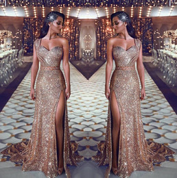 3875de849be22 Black sequin gown red carpet online shopping - 2019 One Shoulder Sequin  Mermaid Evening Dresses Ruched