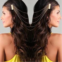 Head Band Boho Australia - Women Girl Punk Rock Boho 2 Combs Chains Tassels Fringes Hair Cuff Pin Head Band