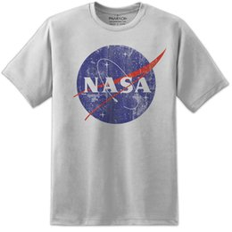 China NASA Retro Distressed Space Logo T Shirt Vintage Mens Kids Awesome Quality Print Funny free shipping Unisex Casual cheap distressed cotton suppliers