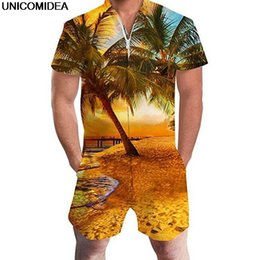 35cfa4ec3d Hawaiian Beach 3D Print Coconut Tree Men Rompers Sunset Jumpsuit Summer  Hoiday Playsuit Overalls One Piece Slim Fit Men s Sets