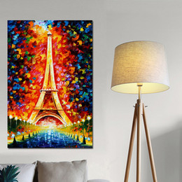 romantic oil canvas NZ - 1 Piece Abstract Colorful Romantic Paris City Eiffel Tower Psychedelic Oil Paintingon Canvas Poster Wall Picture No Framed