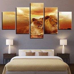 $enCountryForm.capitalKeyWord Australia - Canvas Painting Home Decor Wall Art 5 Pieces Sunset King Of The Forest Lions Pictures For Living Room HD Prints Poster Framework