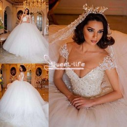 Short Ball Gowns Wedding Dresses NZ - Luxurious 2019 Ball Gown Wedding Dresses Jewel Short Sleeves Illusion Backless Beaded Collar Empire Tulle Sweep Plus Size Train Bridal Gowns