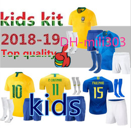 31fb16be7 Top quality 2018 2019 World Cup kids kit P.COUTINHO soccer Jersey 18 19  G.JESUS MARCELO RONALDINHO boy youngster Football shirt uniforms